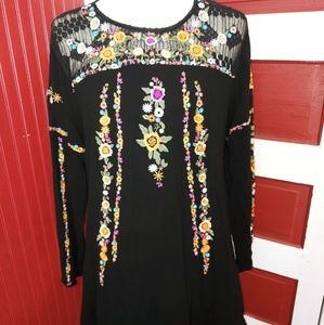 Umgee Floral BOHO Embroidery Tunic XL